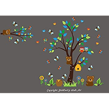 Nursery Wall Decals - Forest Themed Decor Woodland Animal Stickers Baby Room Amazon.com: