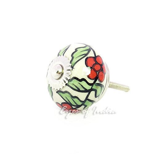 Eyes of India - Green Red Ceramic Cabinet Door Dresser Cupboard Knobs Pulls Decorative Shabby Chic Colorful Boho ()