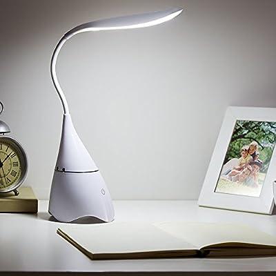 Smileto Portable Rechargeable Desk Lamp & Bluetooth Wireless Speaker With Adjustable Brightness,Flexible Folding Design, Smart Music, Eye Care Reading Light