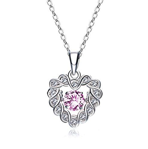 QWERST女性ネックレススターリングシルバーハート型ペンダントファッション絶妙なネックレス最高の贈り物A   B07NPPRXST