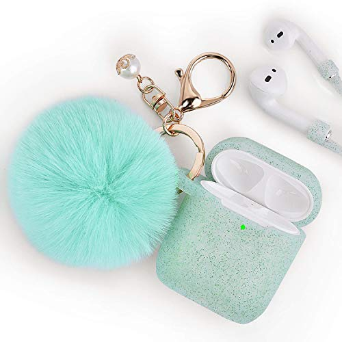 Airpods Case - Filoto Airpods Silicone Glitter Cute Case Cover with Pompom/Keychain/Strap for Apple Airpods 2&1, 2019 Newest 360° Protective Air Pods Charging Case Cover (Glitter Green)