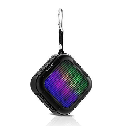 Bluetooth Speakers- Best Waterproof Outdoor & Shower Portable Mini Wireless Bluetooth Speaker,APP Remote Control, TF, FM, Phone Calls, Colorful LED Lights-Black