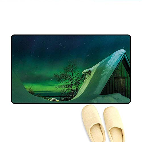 Doormat,Wooden Roof House Winter ICY Arctic View Cold Climates Air Image,Bath Mat 3D Digital Printing Mat,Dark Blue Jade Green,Size:20