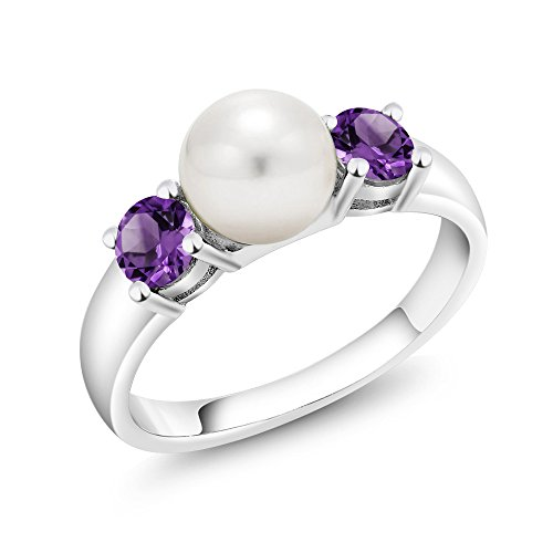 0.72 Ct Round Purple Amethyst 925 Sterling Silver Freshwater Pearl Women's Ring (Available in size 5, 6, 7, 8, 9)
