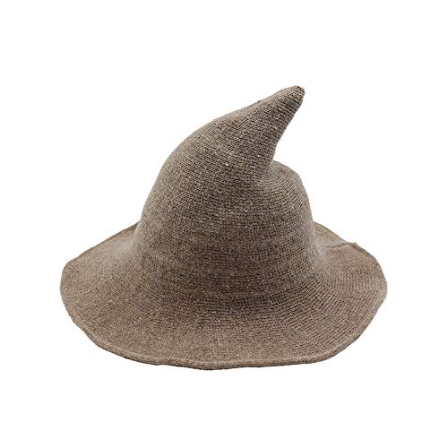 Fekey&JF Women's Witch Kinitted-Wool Hats, for Halloween Party Masquerade Cosplay Costume Accessory and Daily Khaki ()