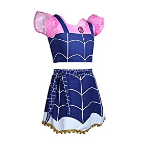- 41obMccE2AL - Alvivi Kids Girls Vampire Costume Dress Ruffled Sleeves Crop Top with Skirt Outfit for Halloween Theme Party