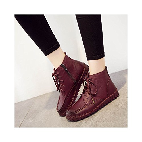 Daily Ankle Wine UPSUN Boots Women's Leather Genuine FwRRaPAxq