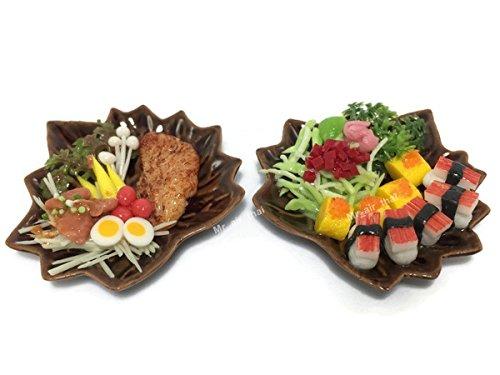 2 Miniature Sushi Set Food Dollhouse Drink Japan Food Shshi Bento Steak Vegetable Fruit Decor Furniture ( Sushi,Pork Satay) F08 ()