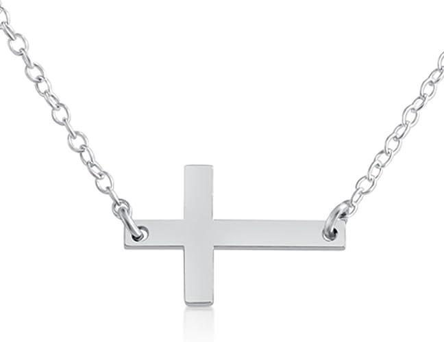 Amazon Com Azaggi 925 Sterling Silver Sideways Simple Cross