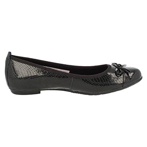 Clarks Tizz Hoffnung Bootleg Mädchenschule Slipper Schuh Black Leather 9 F