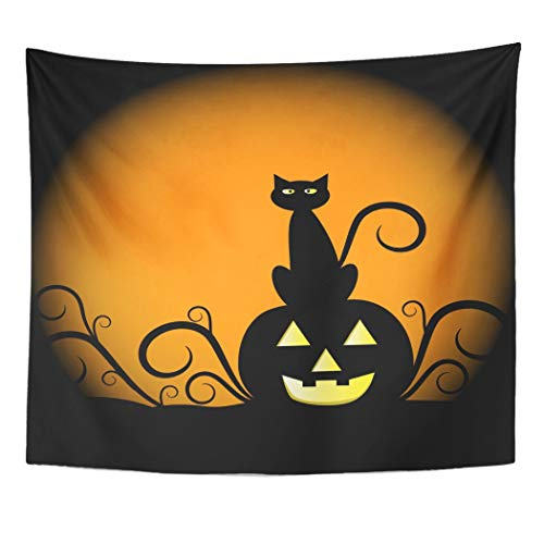 Emvency Wall Tapestry Orange Halloween Pumpkin and Cat Yellow Black Moon October Clipart Scary Harvest Angry Decor Wall Hanging Picnic Bedsheet Blanket 60x50 Inches]()