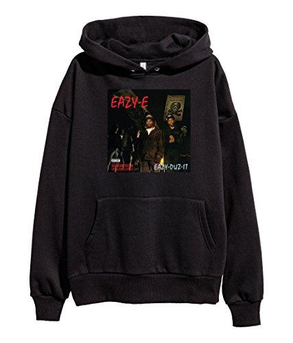 Eazy-E Eazy Duz It Hoodie Hip Hop NWA Old School Rap Hooded Sweatshirt Black - School E Old Eazy