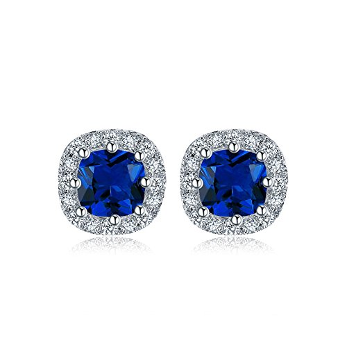 DIFINES Redbarry 1ct Cushion Cut Cubic Zircon 18k White Gold Plated Engagement Stud Earrings 10mm