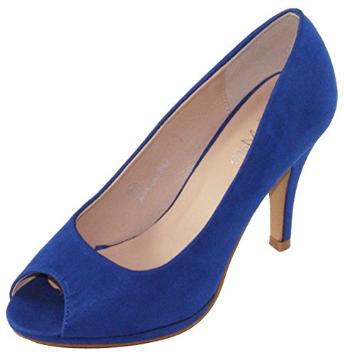Bella Marie Women's Classic Peep Toe Platform Stiletto High Heel Dress Pump (10 B(M) US, Royal Blue) (Blue Peep Toe)