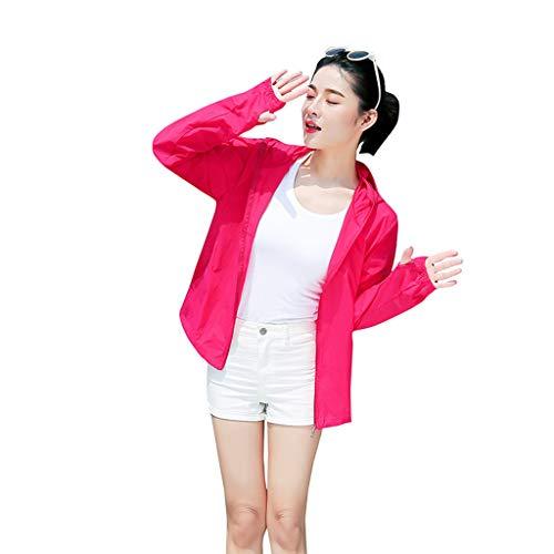 Sun Protective Full Zip Women's Shirt - UPF 50+, Sun Hoodie Couple Sunscreen UV Sun Protection Hooded Outdoor Sunscreen Quick Dry Long Sleeves Fishing Shirts Red