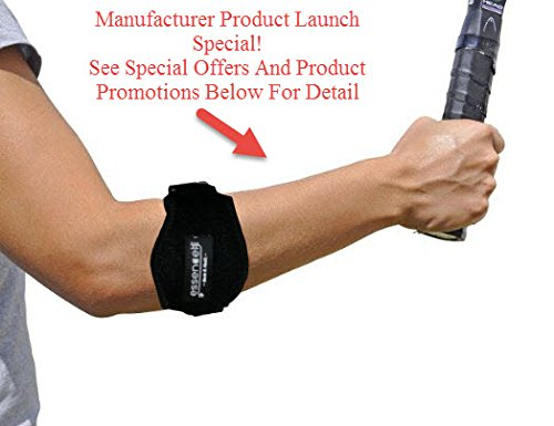 Tennis Golfers Elbow Brace for Tendonitis Treatment, Elbow Strap with Compression Pad, Tennis Elbow Pain Relief Support for man and woman + Drawstring Carrying Bag by Essencell (Image #1)