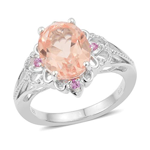 925 Sterling Silver Platinum Plated Oval Morganite Triplet Quartz Pink Sapphire Ring Size 8 Cttw 2.6