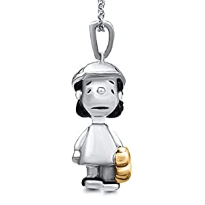 Peanuts Lucy with Baseball Gloves Black Diamond Accent Pendant in Sterling Silver