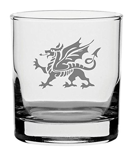 (Traditional Whisky Glass With Welsh Dragon Design)