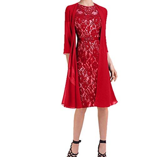 mit Chiffon Neu 2018 Festlichkleider Rot Partykleider Brautmutterkleider Charmant Abendkleider Damen Jaket Kurzes Knielang azWBBHnv