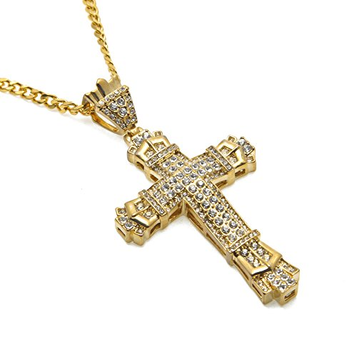 HongBoom Hot Hip Hop Cuban Link Chain 14K Gold Silver Plated CZ CRYSTAL Fully Iced-Out Cross Necklace (Gold) 14k Gold Camera Pendant