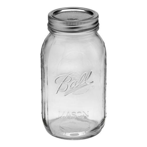 Ball Mason Regular Mouth Quart Jars with Lids and Bands, Set of 12