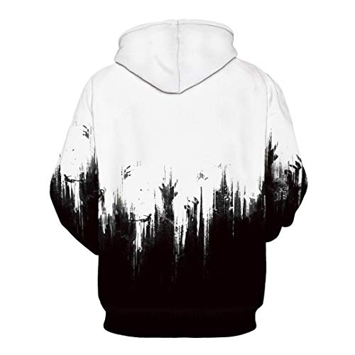 Rucan Halloween Women Men Skeleton 3D Print Long Sleeve Hoodie Sweatshirt Pullover Top by Rucan (Image #4)'