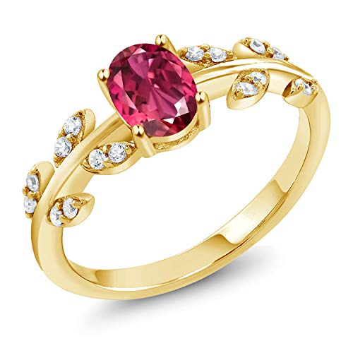 Gem Stone King 18K Yellow Gold Plated Silver 1.06 Ct Oval Pink Tourmaline Solitaire Leaf Ring (Size 8)