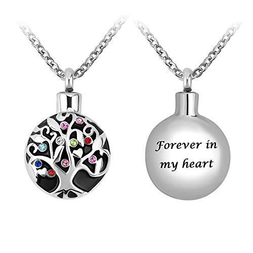 Infinite Memories Family Tree of Life - Forever in My Heart - with Birthstones Style CZ Crystal Pendant Urn Necklace for Ashes Cremation Memorial Keepsake (Stone Keepsake)