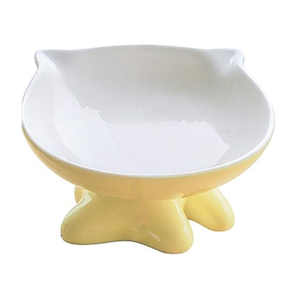 Cat Bowl, Ceramic, Cat Shape, Yellow by LDFANG