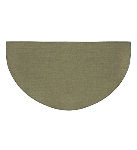Fire Retardant Fiberglass Half Round Hearth Fireplace Area Rug Polyester Trim Non Slip Mat Low Profile Protects Floors from Sparks Embers Logs 27 W x 48 L -