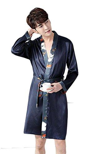 Notte Pigiama Camicia Lunga Accappatoio Uomo colore Sottile Abbigliamento Casa Di Dimensioni Blu Blu Seta Sezione Da Manica Dafrew Pigiama Xl qEnvdxIqW
