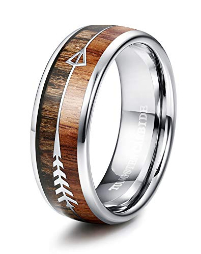 Tungary 8MM Arrow Tungsten Ring for Men Wedding Band Wood Ring High-Polish Finish Size 11
