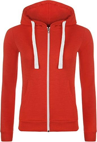 WearAll Plus Size Womens Hooded Zipper Ladies Hoodie Long Sleeve Sweat Top Sizes 14-28 Red