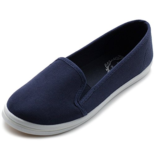 Ollio Women's Shoes Casual Slip On Sneakers Canvas Flats ML68 (6 B(M) US, Navy)