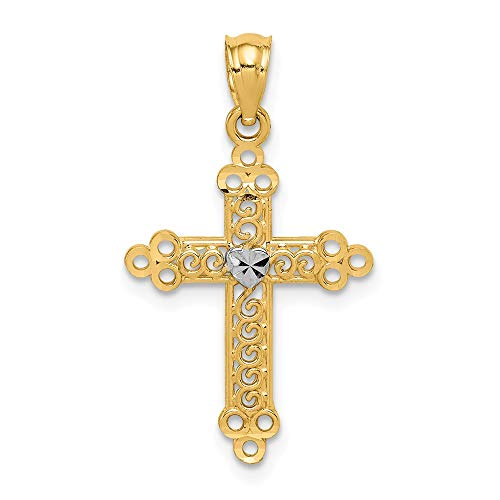 14k Cross Budded Pendant (14k Budded Cross Religious Pendant Charm Necklace Fine Jewelry Gifts For Women For Her)