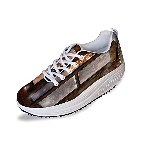 ca8b63519253 Winter Stylish Shake Shoes,Close up Snow on Vintage Wooden Christmas Window  Pine Christmas Tree Inside Cabin Decorative for Women,11