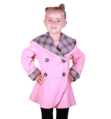 Mack & Co Little Girls Double Breasted Reversible Fleece Coat (3T, Grey Plaid/Pink)