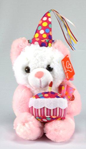 Happy Birthday Musical and Plush Teddy Bear with Cake - Pink Bear, 13 Inches - Musical Happy Birthday Bear