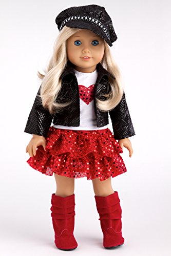 c2c33c05264 DreamWorld Collections - Chic and Sassy - 5 Piece Outfit - Clothes Fits 18  American Girl Doll - Motorcycle Faux ...