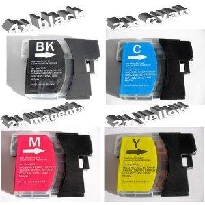 10x Kompatible Drucker Tintenpatronen für Brother MFC-6490CW - 2x Cyan / 2x Gelb / 2x Magenta / 4x Schwarz
