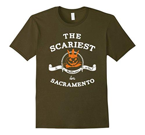 Halloween In Sacramento (Mens The Scariest Pumpkin In Sacramento Halloween T-Shirt Funny Small Olive)