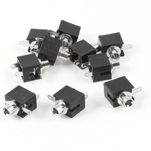 uxcell Black 3 Pin 2.5mm Female Audio Mono Headphone Jacks Socket 10 Pcs ()