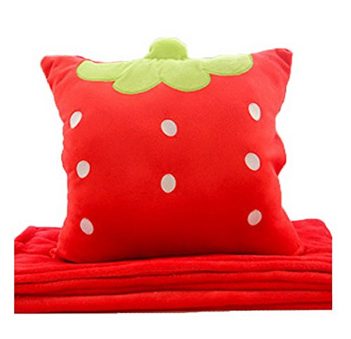 Cartoon Easily Bear Flannel Air Conditioning Blanket Warm Hand Pillow-Strawberry