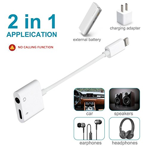 Homfulus iPhone Adapter, 2 in 1 Lightning to 3.5mm Audio Jack and Charger Adapter for iPhone 7 / 7 Plus / 8/ 8plus/ X, Support Non-iPhone Original Headset [Upgrade for IOS10.3.3 or Up]-White