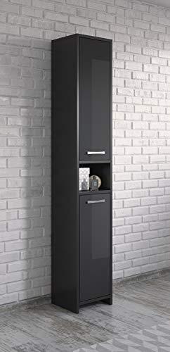 Badplaats B.V. Armoire de Rangement de Nemo Hauteur: 167 cm Noir Brillant -Meuble de Rangement Haut Placard Armoire Colonne