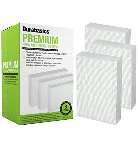 Durabasics Filter R Compatible HEPA Filters for Honeywell Air Purifiers | 3 Pack | Filters 99.97% of Airborne Particles | HRF-R3, HRF-R2 & HRF-R1 Replacements | Fits HPA090, HPA100, HPA200 & HPA300