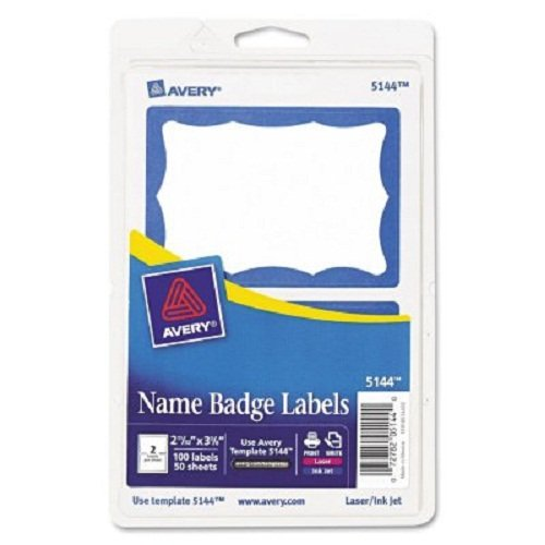 Self Stick Name Tags - Avery Personalized Name Tags, Print or Write, Blue Border, 2-1/3
