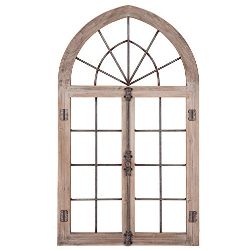 Distressed Gray Arched Cathedral Window Frame Wall - Gray Wreath