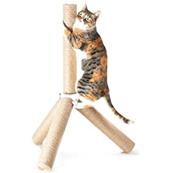 "[NEW] 4CLAWS Jute Tripod Scratching Post 30"",White,30 x 21 x 21 in"